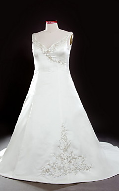 A-line V-neck Strapless Chapel Train Satin Plus Size Wedding Dress