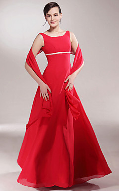 A-line Scoop Floor-length Chiffon Mother of the Bride Dress With A Wrap