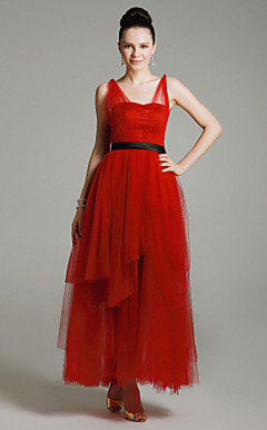 Tulle Satin A-line Straps Ankle-length Evening Dress inspired by Mila Kunis at Emmy Award