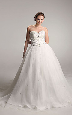 Ball Gown Sweetheart Chapel Train Organza Satin Wedding Dress