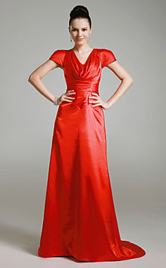 Stretch Satin A-line V-neck Sweep Train Evening Dress inspired by Cameron Diaz at Golden Globe