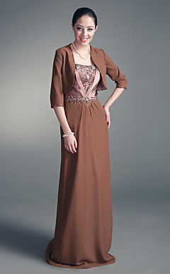 Sheath/ Column Sweetheart Floor-length Chiffon Mother of the Bride Dress With A Wrap