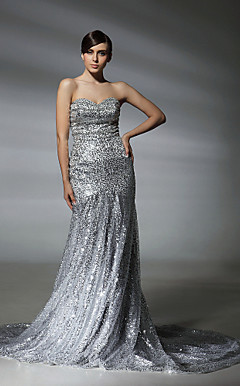 Squined Trumpet/Mermaid Sweetheart Court Train Evening Dress inspired by Natalie Mark at Oscar