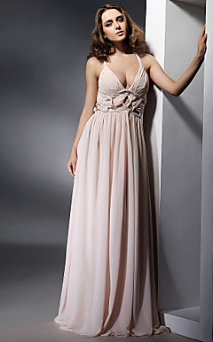 Sheath/Column V-neck Floor-length Chiffon Evening Dress inspired by Elisabetta Canalis at Golden Globe