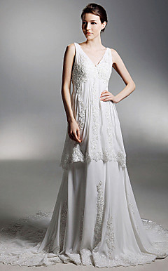 A-line V-neck Chapel Train Chiffon Wedding Dress With Luxury Beaded Appliques
