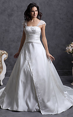 Princess A-line Off-the-shoulder Chapel Train Satin Wedding Dress