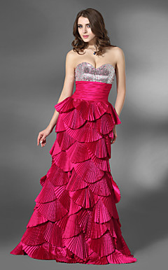 A-line Sweetheart Floor-length Taffeta Sequined Evening Dress