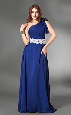 Sheath/ Column One Shoulder Floor-length Chiffon/ Satin Evening Dress