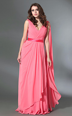 Chiffon Sheath/Column V-neck Floor-length Evening Dress inspired by Rebecca Hall Violante Placido