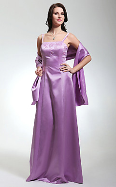 Sheath/Column Spaghetti Straps Floor-length Satin Bridesmaid Dress With A Wrap