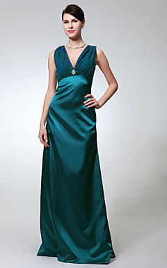 Sheath/Column V-neck Floor-length Chiffon Stretch Satin Bridesmaid/Evening Dress