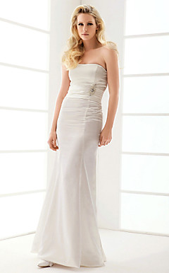 Trumpet/Mermaid Strapless Floor-length Elastic Woven Satin Wedding Dress