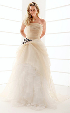 A-line Strapless Floor-length Organza Ruffles Wedding Dress