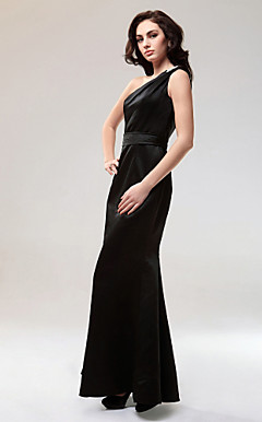 Trumpet/Mermaid One Shoulder Floor-length Satin Evening Dress inspired by Jessica Simpson