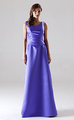 A-line V-neck Sleeveless Floor-length Satin Bridesmaid/ Wedding Party Dress