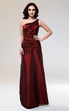Sheath/Column One Shoulder Floor-length Taffeta Evening Dress