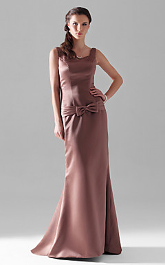 Sheath/Column V-neck Straps Floor-length Satin Bridesmaid Dress