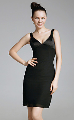 Chiffon Charmeuse Sheath/ Column Short/ Mini Evening Dress