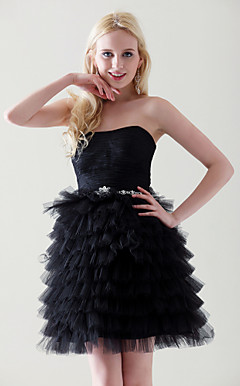 Ball Gown Sweetheart Short/Mini Tiered Taffeta Tulle Cocktail Dress