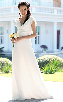 Sheath/ Column V-neck Floor-length Chiffon Elastic Satin Wedding Dress