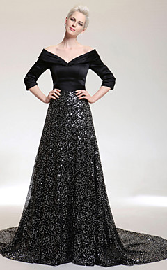 A-line V-neck Court Train Satin And Sequined Evening Dress inspired by Oprah Winfrey at the 83rd Oscar