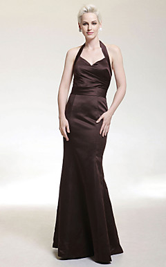 Trumpet/ Mermaid Halter Floor-length Satin Bridesmaid/ Wedding Party Dress