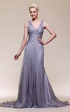 Trumpet/Mermaid V-neck Chiffon And Stretch Satin Court Train Evening Dress Inspired by Christina Applegate