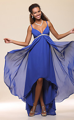 High Low Sheath/Column Spaghetti Straps Chiffon Evening Dress