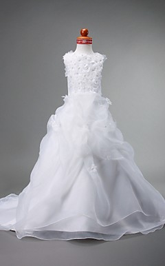 A-line Jewel Court Train Organza Over Satin Flower Girl Dress