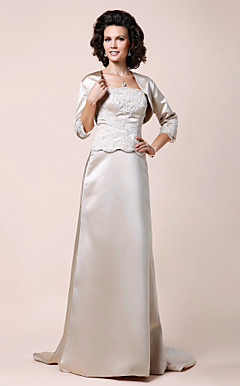 A-line Scalloped-Edge Sweep/Brush Train Satin Mother of the Bride Dress With A Wrap