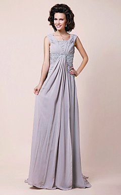 A-line Square Sweep/Brush Train Chiffon Mother of the Bride Dress