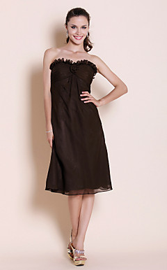 Sheath/Column Sweetheart Knee-length Chiffon Bridesmaid Dress