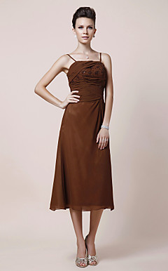 A-line Spaghetti Straps Tea-length Chiffon Mother of the Bride Dress
