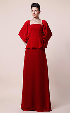 Sheath/Column Square Floor-length Chiffon Evening/Mother of the Bride Dress Dress