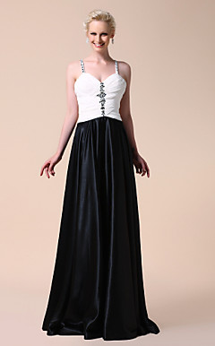 A-line Spaghetti Straps Floor-length Stretch Satin Evening Dress