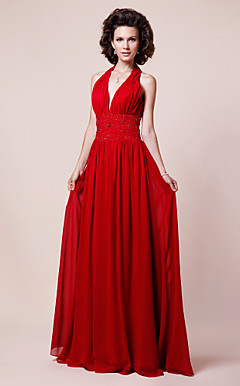 Sheath/ Column V-neck Halter Floor-length Chiffon Mother of the Bride Dress