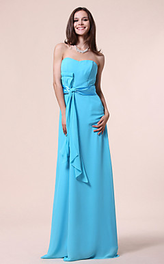 A-line Strapless Sweetheart Floor-length Chiffon Bridesmaid Dress