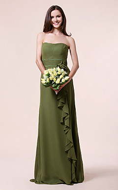 Sheath/ Column Strapless Floor-length Chiffon Over Stretch Satin Bridesmaid Dress