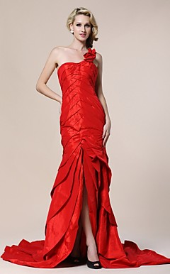 Trumpet/Mermaid One Shoulder ourt Train Taffeta Evening Dress