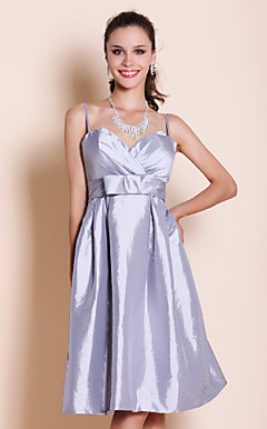 A-line Spaghetti Straps Sweetheart Knee-length Taffeta Bridesmaid Dress
