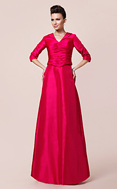 A-line V-neck Half Sleeve Floor-length Taffeta Mother of the Bride Dress