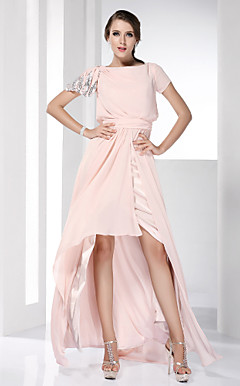High Low Chiffon Sheath/Column Bateau Evening Dress inspired by Jayma Mays