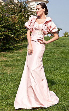 Trumpet/Mermaid Sweetheart Straps Sweep/Brush Train Taffeta Mother of the Bride Dress With A Wrap