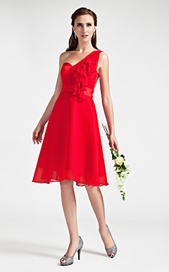 A-line One Shoulder Knee-length  Chiffon  Satin Bridesmaid Dress
