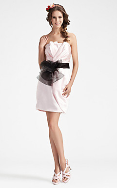 Sheath/ Column Strapless Short/ Mini Satin Tulle Bridesmaid Dress