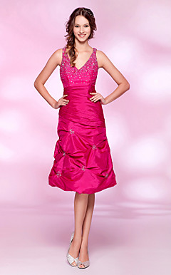 A-line V-neck Knee-length Taffeta Cocktail Dress