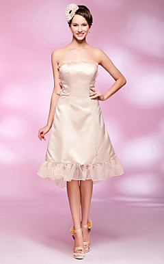 A-line Strapless Asymmetrical Satin Cocktail Dress