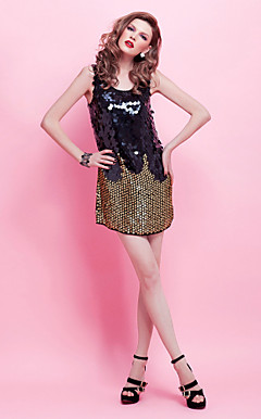 Sheath/ Column Scoop Short/ Mini Sequined Cocktail Dress