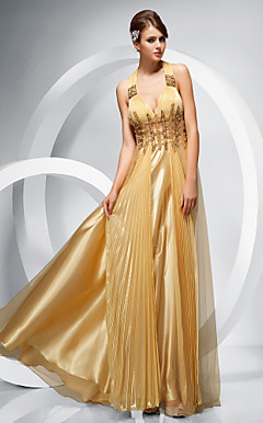 Sheath/Column Straps Floor-length Chiffon Tulle Evening Dress
