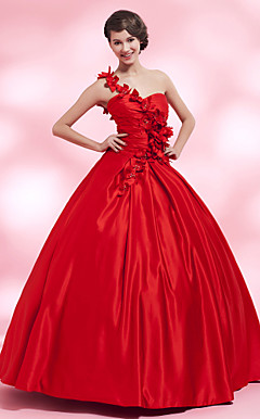 Ball Gown One Shoulder Floor-length Satin Evening Dress